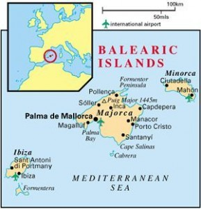 map of balearic islands, mallorca and pollensa