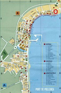 Map of apartments and hotels in pollensa